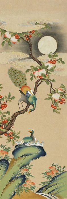 육아육묘 양념자매 Korean Painting, Chinese Painting, Chinese Art, Peacock Painting, Fabric Painting, Korean Art, Asian Art, Korean Traditional, Traditional Art