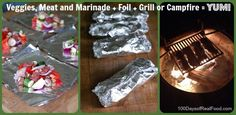 grilled meat and veggies in a foil packet