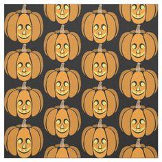 #Funny Faced Halloween Pumpkin Fabric - #Halloween happy halloween #festival #party #holiday