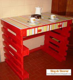 Blog de Decorar: A História da Mesa-Pallet-Vermelha-Arco-íris-com-tampo-de-Contact da Concórdia...