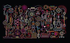 音楽ショップ抽象芸術ベクトル イラスト。黒の背景にシルエットでネオンの光。  イラスト・ベクター素材