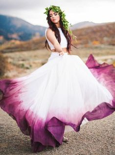 Two Piece Bateau Fuchsia Dyed Chiffon Wedding Dress #twopiece #summer #summerstyle #summerwedding #summerdresses #longdresses#dresses #dress #party #weddings #weddingdress #weddingplanning