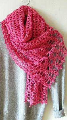 Crochet Scarf Pattern - Lac Rose Scarf - lace crochet scarf wrap pattern, sport yarn - Instant PDF D Crochet Lace Scarf, Crochet Scarves, Crochet Clothes, Hand Crochet, Easy Scarf Knitting Patterns, Crochet Patterns, Scarf Patterns, Wrap Pattern, Cashmere Scarf