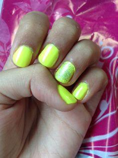 Neon yellow with glitter