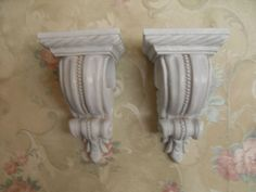 Pair Wall Shelves Shelf Curtain Rod VINTAGE STYLE~COTTAGE~SHABBY~FRENCH