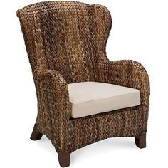 Pottery Barn Seagrass Wingback Armchair ($99) ❤ liked on Polyvore