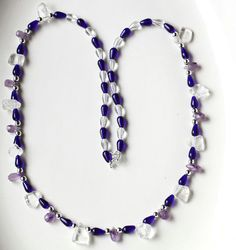Cobalt Teardrop Bead Necklace with Clear Crystal and by ScoSiCa, $30.00.  Love love love the cobalt blue colors and the adorable amethyst teardrop beads.
