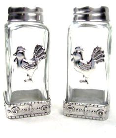 2 Pcs Kitchen Salt Pepper Shaker Clear Glass With Metal Rooster Design Cookware