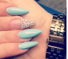 Super stiletto nails in Tiffany blue and Swarovski