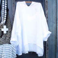 Linen Hoodie white linen shirt MegbyDesign