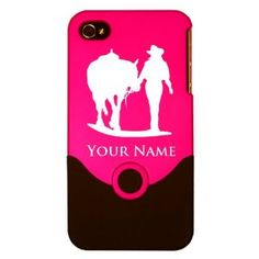 Engraved iPhone 4/4S Case/Cover - COWGIRL AND HORSE - Personalized for FREE (Click the CONTACT SELLER button after purchase and send a message with your case color and engraving request)