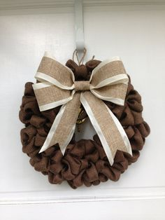 Chocolate Burlap Wreath with Burlap and Satin Bow, Thanksgiving Decor, Autumn Decoration, Harvest Colors, Elegant Door Decor on Etsy, $45.00