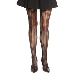 Nordstrom 'Pretty Pointelle' Tights ($15) ❤ liked on Polyvore featuring intimates, hosiery, tights, black, black stockings, black striped tights, black tights, lace tights en black striped stockings