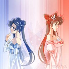 Sisters Mika (Sailor Blue Moon) and Mizuki (Sailor Admiral)by on DeviantArt Sailor Moon Stars, Sailor Moon Fan Art, Sailor Moon Character, Sailor Moon Manga, Sailor Moon Crystal, Stars And Moon, Goten Y Trunks, Princess Pictures, Pokemon
