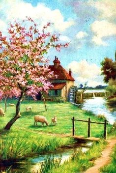 Full Sized Image: five sheep grazing in orchard, stream to right Storybook Cottage, Cottage Art, Garden Cottage, Farm Cottage, Landscape Art, Landscape Paintings, Arte Country, Photo Vintage, Jolie Photo