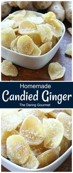 Homemade Candied Ginger - Kimberly @ The Daring Gourmet - Homemade Candied Ginger Homemade candied ginger is WAY better than store-bought, it's flavor is much fresher and more vibrant. Great in baking or for snacking! Chocolate Marshmallow Cookies, Chocolate Chip Shortbread Cookies, Toffee Cookies, Spice Cookies, Yummy Cookies, Salted Caramel Mocha, Butterscotch Chips, Incredible Recipes, Dehydrator Recipes