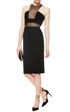 Black Sleeveless Midi Dress with Sheer Insets by Cushnie et Ochs Now Available on Moda Operandi