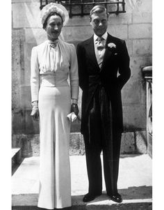 The Duke and Duchess of Windsor had a low-key ceremony in 1937. The Duchess wore a blue Mainbocher creation which is now held in the Metropolitan Museum of Art.