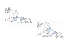 Keep your core engaged and breathe out as you squeeze the glutes and lift your butt off the floor. Maintain your upper body relaxed and inhale as you return to the starting position. http://www.spotebi.com/exercise-guide/wall-bridge/