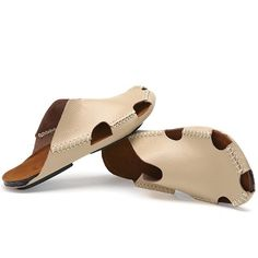 3f3b99345c2 Men Stitching Holow Out Soft Sandals Breathable Backless Loafers Backless  Shoes