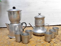2 Vintage French Metal TOYS CHILDREN COFFEE POTS +  6 metal CUPS