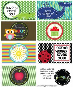 FREE Back to School Lunch Notes for Kids - we think these are adorable. ALso included a FREE First Day of School Lunch Note!