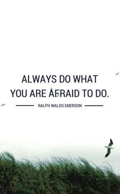 We need to recognise our fears, examine them, feel them and continue on our intended path anyway.