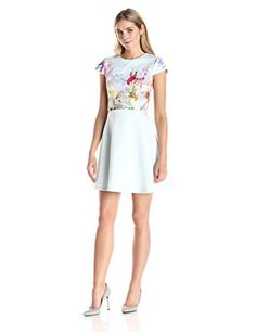 Ted Baker Womens Rivana Hanging Gardens Short Sleeve Skater Dress Mint 3 >>> You can get more details by clicking on the image.
