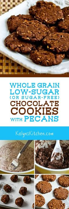 Whole Grain Low-Sugar (or sugar-free) Chocolate Cookies with Pecans are delicious for a healthier chocolate cookie for the holidays. [found on KalynsKitchen.com]