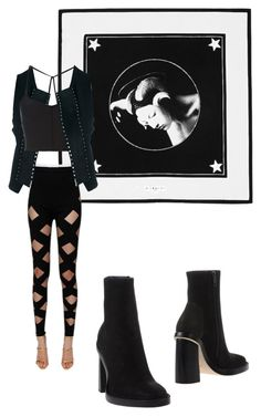 """""""Night Fantasy"""" by nudespoonseuphoria on Polyvore featuring Givenchy, Balmain, Ann Demeulemeester, goth, minimal, designer, SLEEK and noir"""