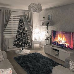 Happy Tuesday everyone 💕 . No big reveal here. but we now have our tree up 🎄 (was hard to get a pic with the lights on) We have realised… Decor Home Living Room, Living Room Decor Inspiration, Cozy Living Rooms, Living Room Grey, Apartment Living, Living Room Designs, Bedroom Decor, Home Decor, House Rooms