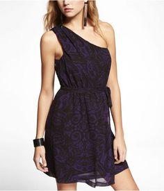 Express Womens Chiffon One Shoulder Elastic Waist Dress Purple, X