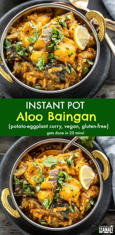Easy Aloo Baingan (potato & eggplant curry) made in the Instant Pot! This recipe uses frozen onion tomato masala and gets done in 20 minutes for an easy dinner! vegan instantpot indian via 485614772318975926 Indian Eggplant Recipes, Vegan Eggplant Recipes, Vegan Indian Recipes, Delicious Vegan Recipes, Eggplant Curry Indian, Vegan Indian Food, Vegan Food, Food Food, Recipes