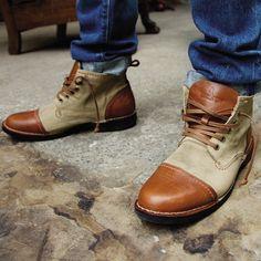 Estate Men's Peanut/Tan Leather/Canvas Mid Cut Ankle Boots A1516