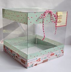 Clear Scraps Blog: Clear Scraps Acrylic Valentine's Box Tutorial by Pinky! Acrylic Box, Clear Acrylic, Valentine Day Boxes, Valentines, Clear Gift Boxes, Baby Announcement Cards, Creative Box, Wood Home Decor, Photo Tutorial