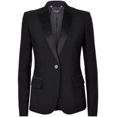 MaxMara Weekend Ulla Satin Lapel Blazer ($410) ❤ liked on Polyvore featuring outerwear, jackets, blazers, lapel blazer, satin blazer, tailored blazer, lapel jacket and satin jacket