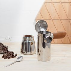 Stovetop Espresso Maker by FREUD | MONOQI #bestofdesign | Origin United Kingdom | Material Stainless Steel, Rose Wood