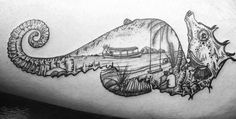 Seahorse tattoo with island landscape done @KohRongInk Cambodia!