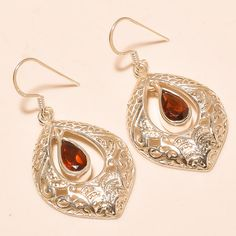 92.5% SOLID STERLING SILVER CHARMING FACETED MOZAMBIQUE GARNET EARRING 3.70 CM #Handmade