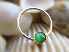 Green Septum Ring Nipple Ring Nipple piercing by LarryJewelryShop