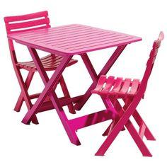 Table de jardin rectangulaire pliante fuchsia en plastique pour 2 personnes.  <br>Dim: 79 x 72 x H70cm