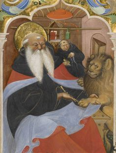 """""""Saint Jerome Extracting a Thorn from a Lion's Paw,"""" second quarter of 15th century, Master of the Murano Gradual."""