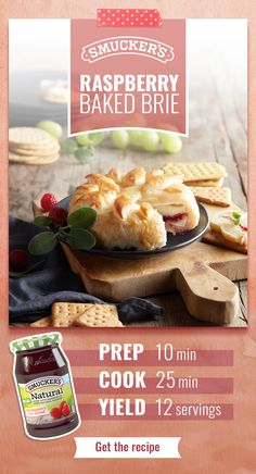 Make your Raspberry Baked Brie delicious with Smucker's® Red Raspberry Natural Fruit Spread. (That's the one with real raspberries as the ingredient!) It's the perfect Easter celebration appetizer. Tap the Pin to get the recipe. Soup Appetizers, Appetizers For Party, Appetizer Recipes, Charcuterie, Flan, Baked Brie, Tasty, Yummy Food, Red Raspberry