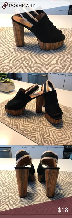 Black suede heeled sling backs - NEVER WORN! Black suede heeled sling backs - sling is white with a black strap and is a cotton fabric. Heels measure 5 inches Atmosphere Shoes Heels