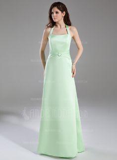 Corte A/Princesa Cabestro Vestido Satén Dama de honor con Volantes Alfiler Flor Cristal (007001863)