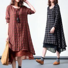 Plaid long-sleeved cotton dress - Tkdress  - 1
