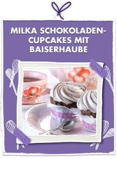 Milka Schokoladen-Cupcakes mit Baiserhaube