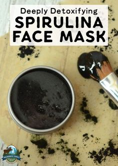 Draw impurities from the skin, fight acne, and even brighten your complexion with this deeply detoxifying spirulina face mask! With raw honey, activated charcoa Charcoal Face Mask, Acne Face Mask, Diy Face Mask, Face Diy, Body Mask, Skin Mask, Spirulina, Face Scrub Homemade, Homemade Face Masks