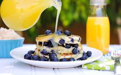 lemon blueberry buttermilk pancakes - sooooo good