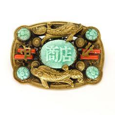 Vintage Czech Art Deco Neiger Oriental Fish Peking Glass Brooch | Clarice Jewellery